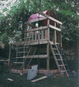 Playset built with ordinary treated lumber and attached accessory kits